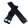 Pebble Time Classic Round Black Rubber Silicone Diver's Style Replacement Watch Band Strap SS Buckle #4032