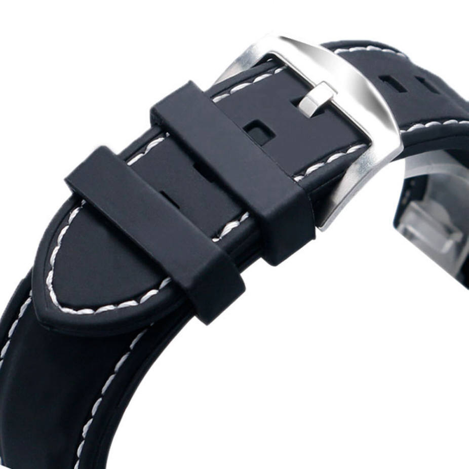 Black Silicone PU Replacement 18mm Watch Band Strap Buckle White Stitching #4003