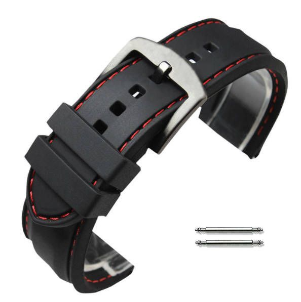 Black Silicone PU Replacement 20mm Watch Band Strap Red Stitching #4008