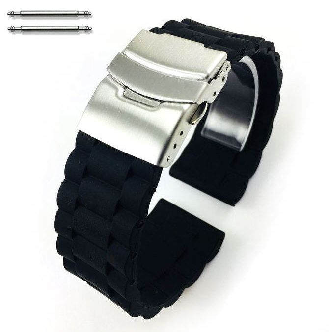 Black Silicone Replacement 20mm Watch Band Strap Double Locking Buckle #4091