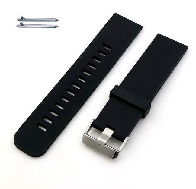 Black Silicone Replacement 20mm Watch Band Strap Wide Style Metal Steel Buckle #4021