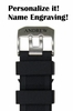 Lacoste Compatible 23mm Black Rubber Silicone Replacement Watch Band Strap PVD Steel Buckle #4001