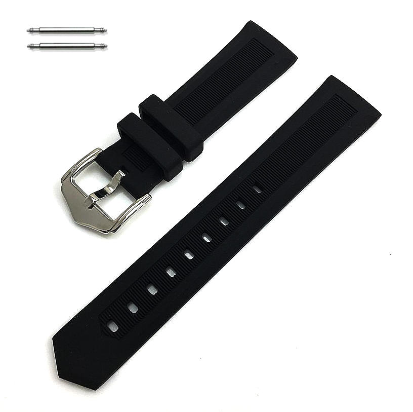 Black Silicone Replacement Watch Band Strap #4411