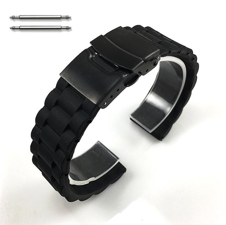 Black Silicone Replacement Watch Band Strap Double Locking Clasp #4099