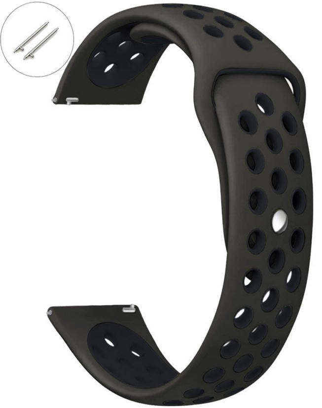 Black Sports Silicone Replacement 20mm Watch Band Strap Quick Release Pins #4071