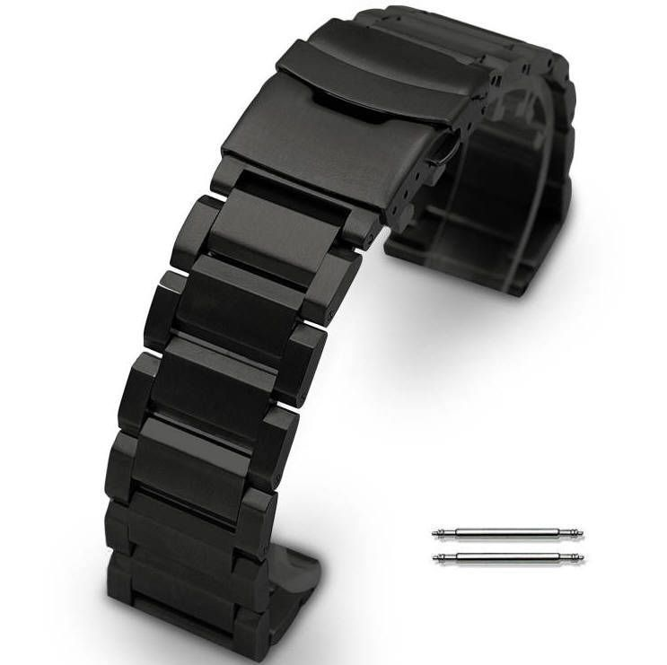 Black Stainless Steel Bracelet Replacement 20mm Watch Band Double Clasp #5002