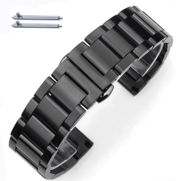 Black Stainless Steel Brushed Replacement 18mm Watch Band Butterfly Clasp #5072