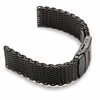 Black Stainless Steel Metal Shark Mesh Bracelet 20mm Watch Band Double Locking #5032