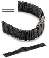 Black Stainless Steel Metal Shark Mesh Bracelet Watch Band Strap Double Locking #5032