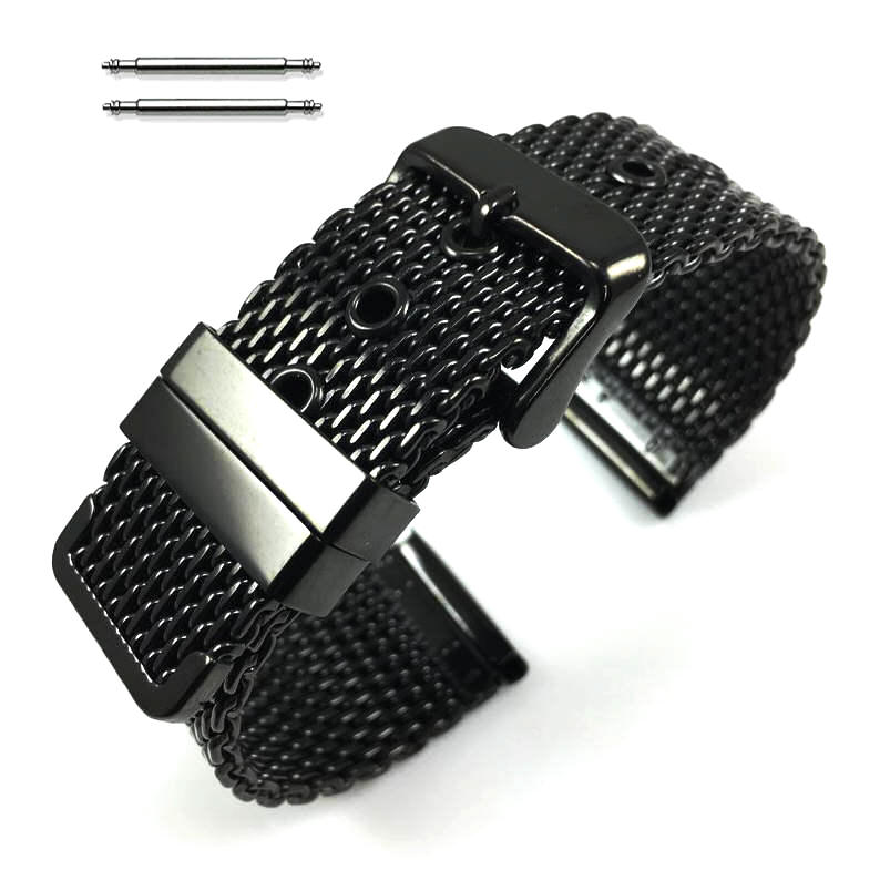 Black stainless Steel Thick Mesh Replacement Watch Band Strap #5102