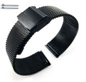Black Steel Metal Adjustable Mesh Bracelet Watch Band Strap Double Lock Clasp #5026