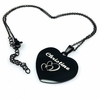 Black Tone Personalized Laser Engraved Heart Shaped Name Plate Necklace Pendant #1012