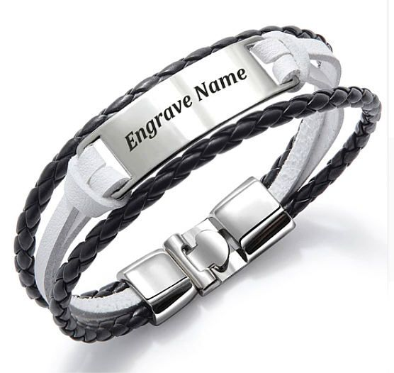 Black & White Leather & Steel Bangle Bracelet Personalized Name Engraving #1027