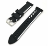 Black & White Racing Style Silicone Replacement Watch Band Strap #4401