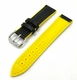 Black & Yellow Carbon Fiber Leather Replacement Watch Band Strap #1503