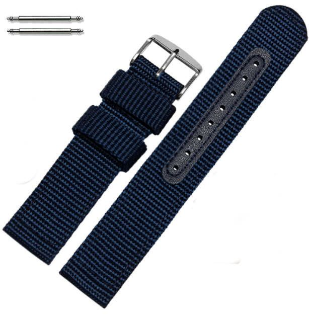 Blue Canvas Nylon Fabric 20mm Watch Band Strap Army Military Style Steel Buckle #3054