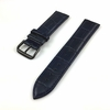 Emporio Armani Compatible Blue Croco Genuine Leather Replacement Watch Band Strap Black PVD Steel Buckle #1053