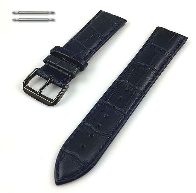 Blue Croco Leather Replacement 18mm Watch Band Strap Black PVD Buckle #1053
