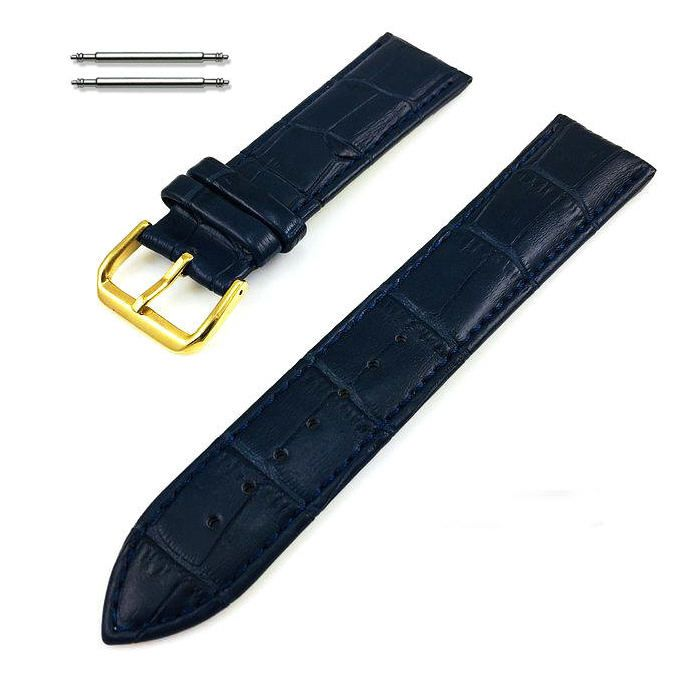 Blue Croco Leather Replacement 20mm Watch Band Strap Gold Steel Buckle #1083