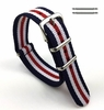 Blue Red White Stripes One Piece Slip Through Nylon Watch Band Strap Buckle #6015