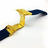 Coach Compatible Blue Rubber Silicone Replacement Watch Band Strap Gold Double Lock Buckle #4015G