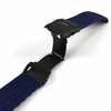 Timex Compatible Blue Rubber Silicone Watch Band Strap Double Locking Black PVD Steel Buckle #4016