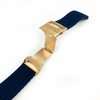 Longines Compatible Blue Rubber Silicone Watch Band Strap Rose Gold Double Locking Clasp #4015RG