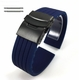Blue Silicone 20mm Watch Band Strap Double Locking Black PVD Steel Buckle #4016