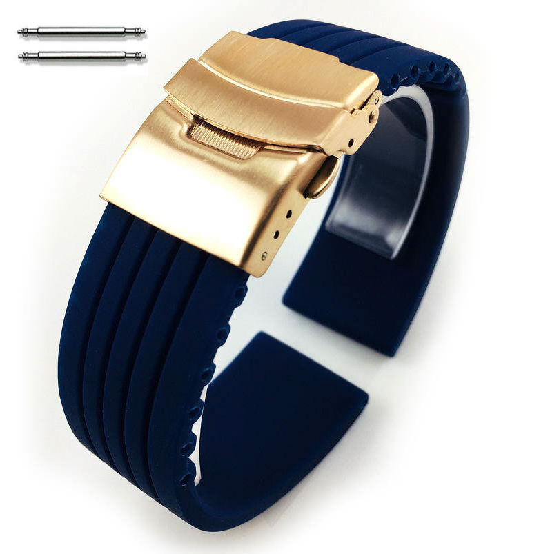 Blue Silicone 20mm Watch Band Strap Rose Gold Double Locking Clasp #4015RG