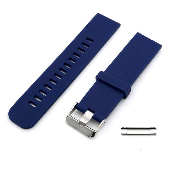 Blue Silicone Replacement 18mm Watch Band Strap Wide Style Metal Steel Buckle #4022
