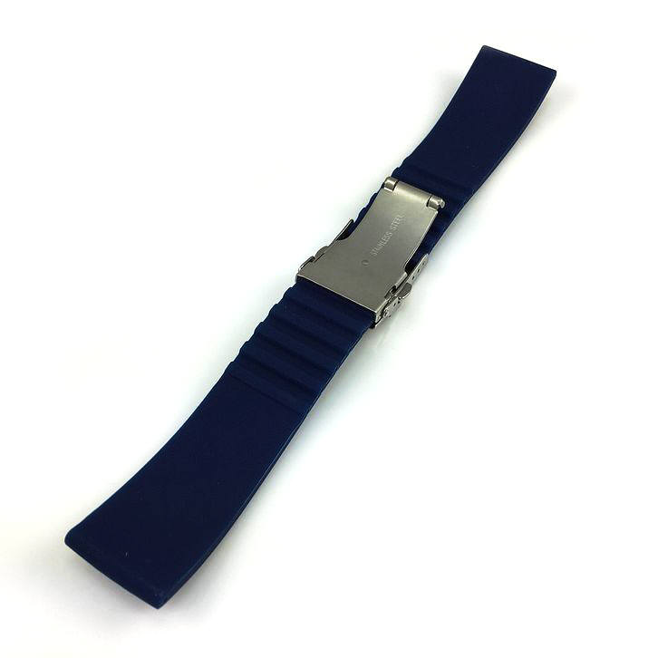 Relic Compatible Blue Rubber Silicone Replacement Watch Band Strap Double Locking Steel Buckle #4015