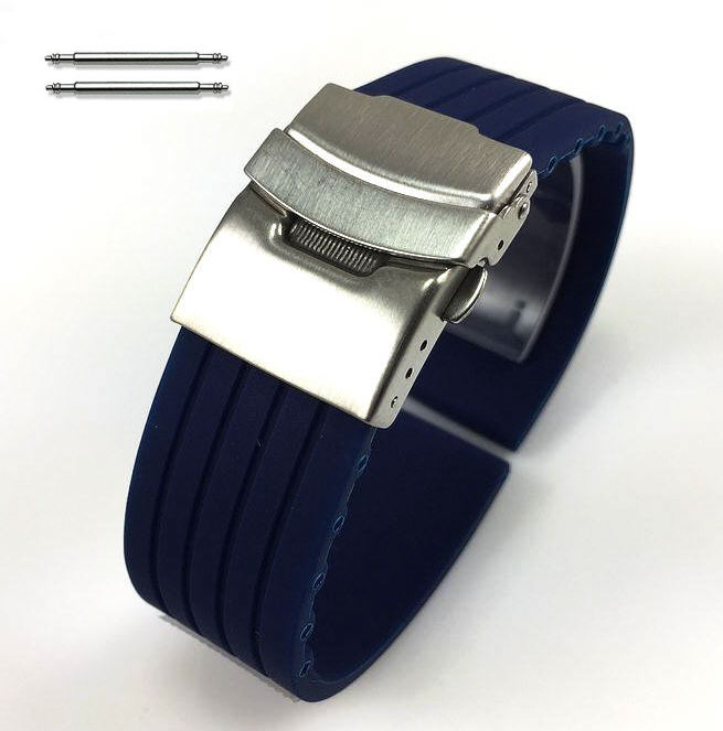 Blue Silicone Replacement 20mm Watch Band Strap Double Locking Steel Buckle #4015