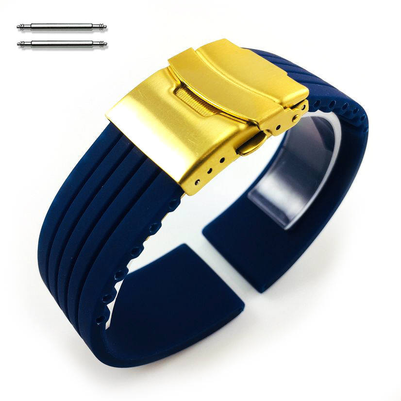 Blue Silicone Replacement 20mm Watch Band Strap Gold Double Lock Buckle #4015G