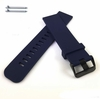 Blue Silicone Rubber Replacement Watch Band Strap Wide PVD Metal Steel Buckle #4026