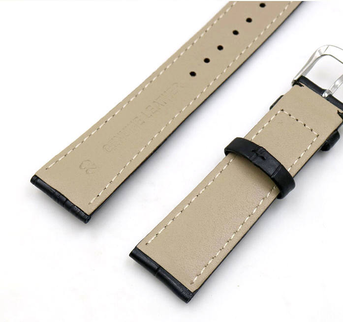 Armitron Compatible Black Elegant Croco Genuine Leather Replacement Watch Band Strap Steel Buckle #1041