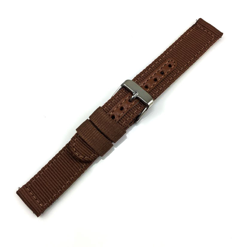 Brown Canvas Nylon Fabric Watch Band Strap Army Military Style Steel Buckle #3053
