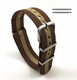 Brown & Beige Stripes One Piece Slip Through Nylon Watch Band Strap S Buckle #6011