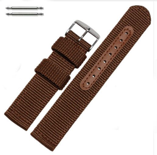 Brown Canvas Nylon Fabric 20mm Watch Band Strap Army Military Style Buckle #3053
