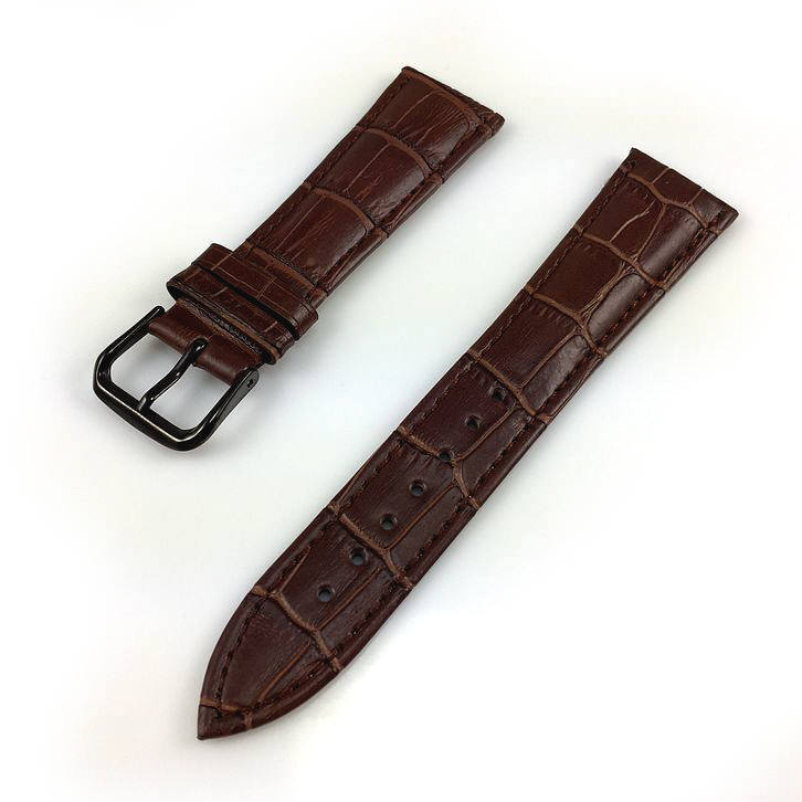 Longines Compatible Brown Croco Genuine Leather Replacement Watch Band Strap Black PVD Steel Buckle #1052