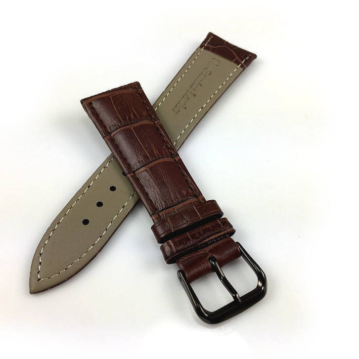 Relic Compatible Brown Croco Genuine Leather Replacement Watch Band Strap Black PVD Steel Buckle #1052