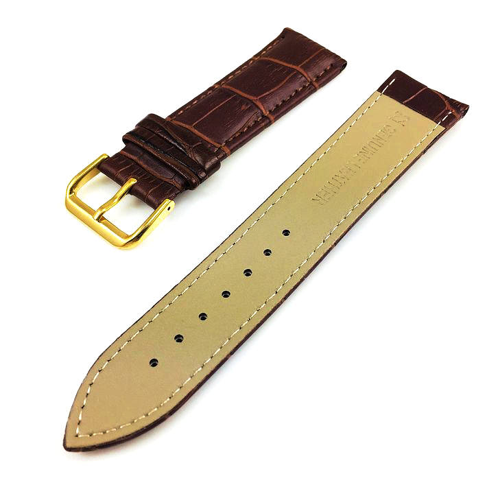 Coach Compatible Brown Croco Genuine Leather Replacement Watch Band Strap Gold Steel Buckle #1082