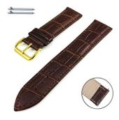 Brown Croco Genuine Leather Replacement Watch Band Strap Gold Steel Buckle #1082