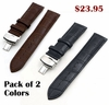 Brown Croco Genuine Leather Replacement Watch Band Strap Steel Butterfly Buckle #1032