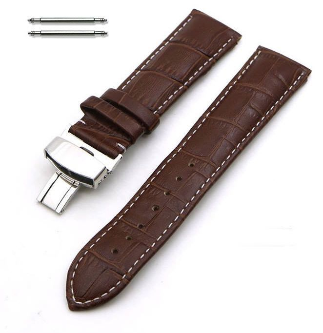 Brown Croco Leather 18mm Watch Band Strap Steel Butterfly Buckle White Stitching #1035
