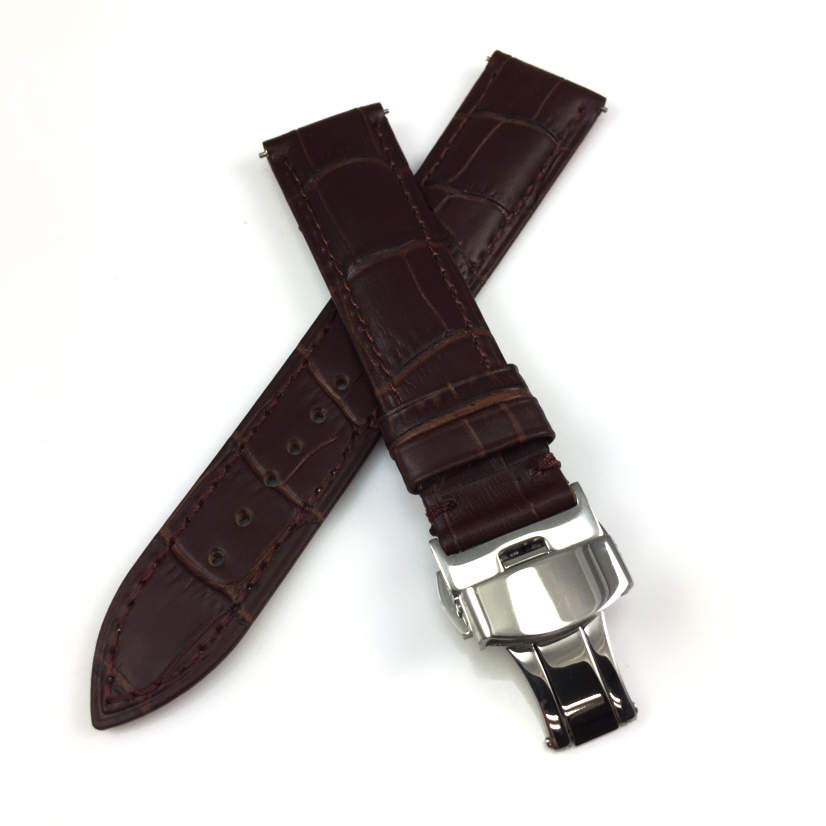 Brown Croco Leather Replacement 20mm Watch Band Strap Butterfly Buckle #1032