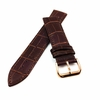 Brown Croco Leather Replacement 20mm Watch Band Strap Rose Gold Buckle #1072