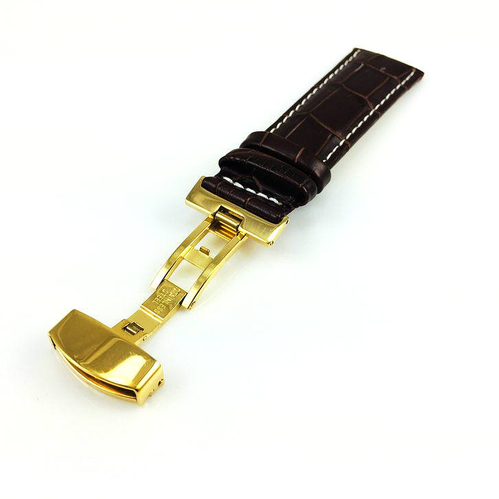 Coach Compatible Brown Croco Leather Watch Band Strap Belt Gold Butterfly Buckle White Stitching #1039