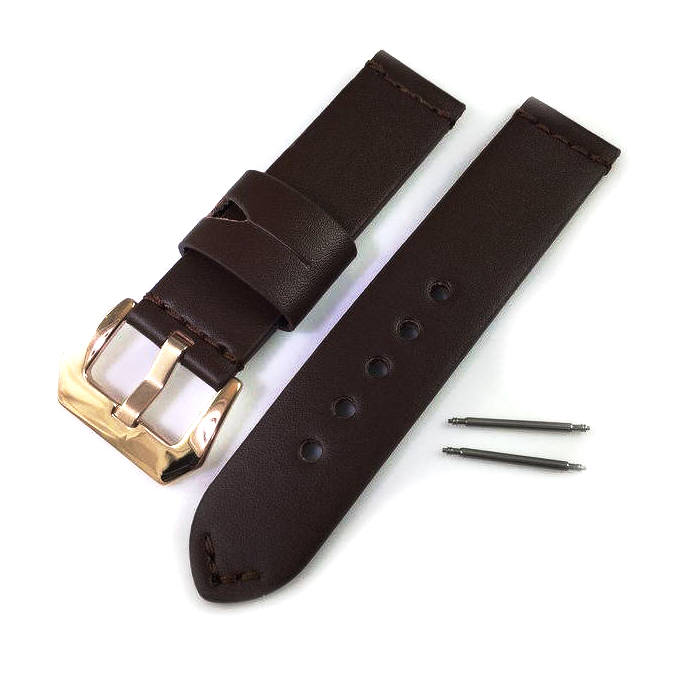 Coach Compatible Brown Genuine Leather Watch Band Strap Rose Gold Steel Buckle #1009