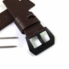 Brown Genuine Replacement Leather Watch Band Strap PVD Black Metal Steel Buckle #1008