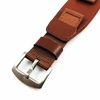 Brown Leather Nylon Cuff 20mm Watch Band Strap Army Military Style #6052